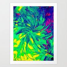 WEB OF LIES - Neon Vibrant Abstract Acrylic Painting Digital Deceit Spiderweb Manipulative Beauty Art Print