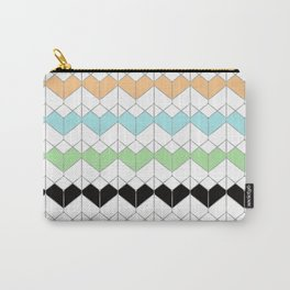Geometric pattern. Green, blue, black,camel shapes on white. Carry-All Pouch