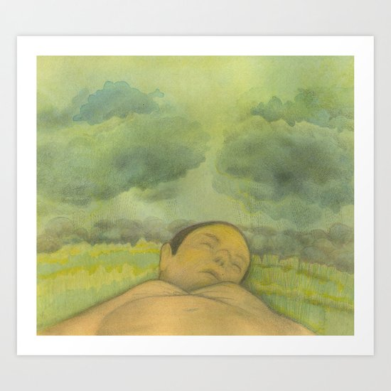 Last sleep while it rains Art Print