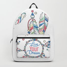 Live Your Dream Dream Catcher - Pastel Colors Backpack