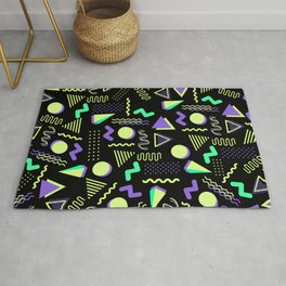 Geometrical retro lime green neon purple 80's abstract pattern Rug