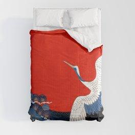 JAPANESE POP ICON- WHITE CRANE Comforters