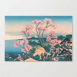 Spring Picnic under Cherry Tree Flowers, with Mount Fuji background Canvas Print
