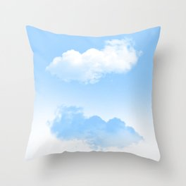 white and blue clouds Throw Pillow