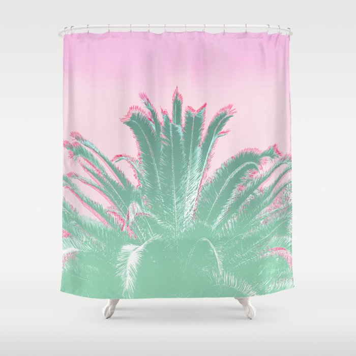 Palm Tree Leaves Tropical Vibes Design Shower Curtain By