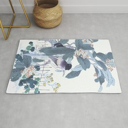 Kono Bairei - Azure Winged Magpies On Blossomed Loquat Tree - Antique Japanese Woodblock Print Art  Rug