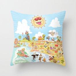 Southern California Beach Paradise Throw Pillow