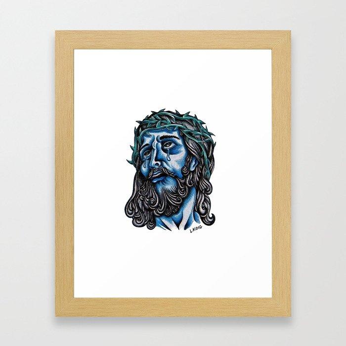 The Blue Jesus  Framed Art Print