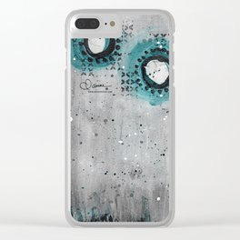 Charcoal Circles Clear iPhone Case