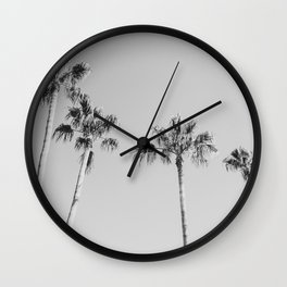 Black Palms // Monotone Gray Beach Photography Vintage Palm Tree Surfer Vibes Home Decor Wall Clock