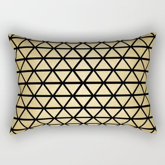 Black and Gold Geometric Pattern 3 Rectangular Pillow