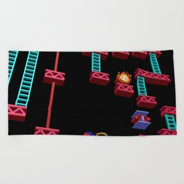 Inside Donkey Kong stage 3 Beach Towel