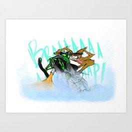 Wild Sasquatch Sledder Art Print