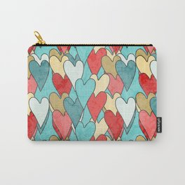 Grunge Pattern With Hearts Carry-All Pouch