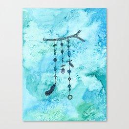 Blue boho wind chime Canvas Print