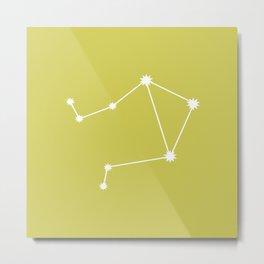 Libra Zodiac Constellation - Vibrant Green Metal Print