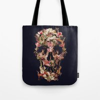 skull Tote Bags featuring Jungle Skull by Ali GULEC