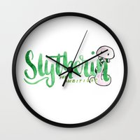 slytherin Wall Clocks featuring Slytherin The Ambitious  by AliceInWonderbookland