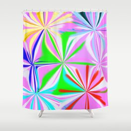 Colorful Fireworks Abstract Pink Blue Red White Shower Curtain