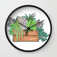 succulents Wall Clocks featuring Succulents by Little Lost Garden