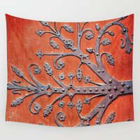 door Wall Tapestries featuring Gothic Red Door by Joke Vermeer