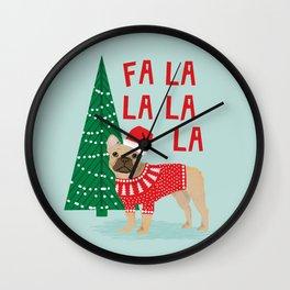French Bulldog Christmas festive holiday sweater christmas card for dog lover french bulldog Wall Clock