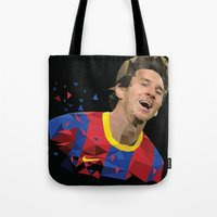 messi Tote Bags featuring Messi  by Abhikreationz