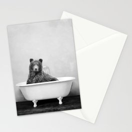 Brown Bear Bathtub Stationery Cards