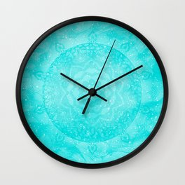 FLORAL MANDALA TURQUOISE Wall Clock