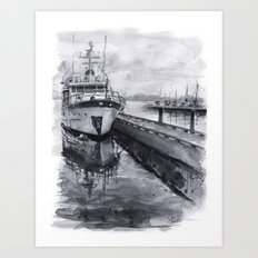Kirkland Marina Waterfront Boat Watercolor Seattle Art Print