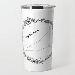Floral Capricorn Constellation Travel Mug