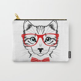 Hipster Cat with Red Glasses Carry-All Pouch