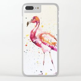 flamingo water color art Clear iPhone Case