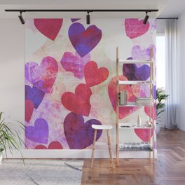 Fab Pink & Purple Grungy Hearts Design Wall Mural
