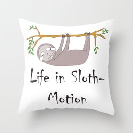 Life in Sloth-Motion Sloth on a Branch Throw Pillow