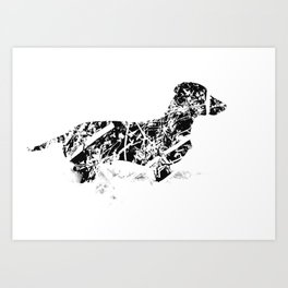Dachshund in the snow Art Print