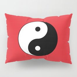 Yin and yang Symbol on red Pillow Sham
