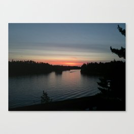 Sunset On Cottage Lake Canvas Print