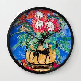 Tropical Protea Bouquet with Toucans in Greek Horse Urn on Ultramarine Blue Wall Clock