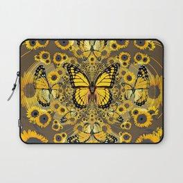 BLACK-GOLD MONARCHS SUNFLOWER ART Laptop Sleeve