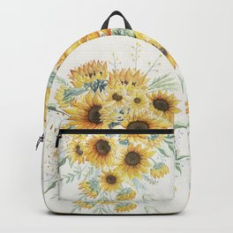 Loose Watercolor Sunflowers Backpack
