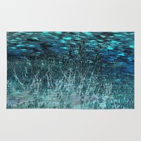 marine Area & Throw Rugs featuring Marine Scape Deekflo Print AwesomePaletteSoc6 by Awesome Palette