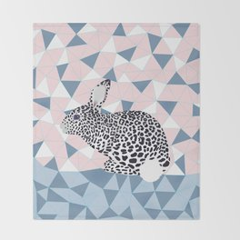 Cute Rabbit Leopard Pattern Design Throw Blanket