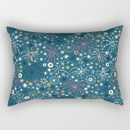 There are fireworks everywhere (blue) Rectangular Pillow