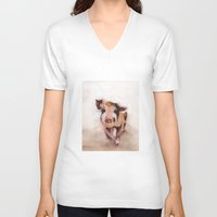 pig V-neck T-shirts featuring Pig by Bridget Davidson