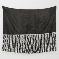 herringbone Wall Tapestries featuring herringbone - dark by Coco Crisis