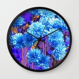 Aqua-Blue Mums Flower Pattern Abstract Wall Clock