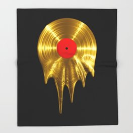 Melting vinyl GOLD / 3D render of gold vinyl record melting Throw Blanket