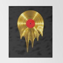 Melting vinyl GOLD / 3D render of gold vinyl record melting Throw Blanket