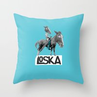 warrior Throw Pillows featuring Warrior by LOSKA